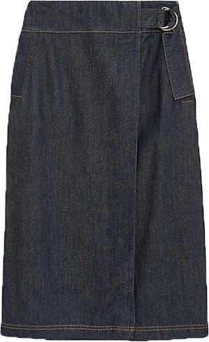 Marks & Spencer buckle midi A-line skirt | 40plusstyle.com
