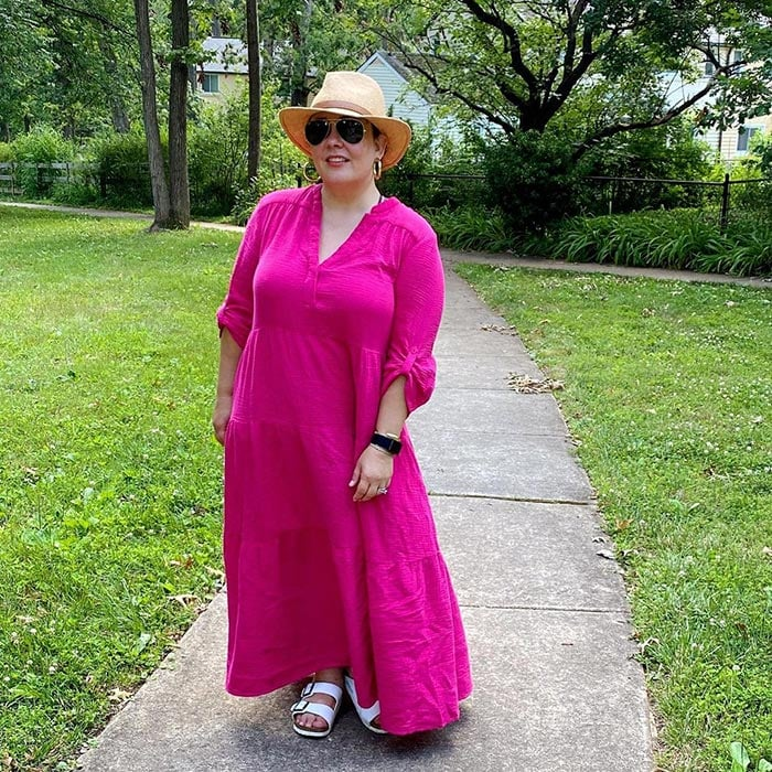 What to wear on a boat - Alison in a pink dress and sandals   40plusstyle.com