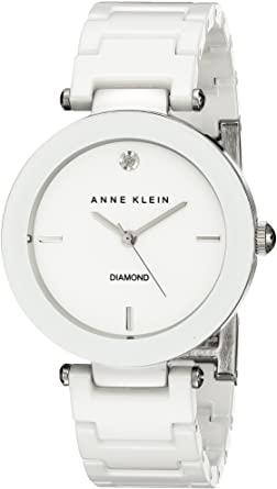 Anne Klein AK / 1019WTWT Reloj con detalles de diamantes y pulsera de cerámica |  40plusstyle.com