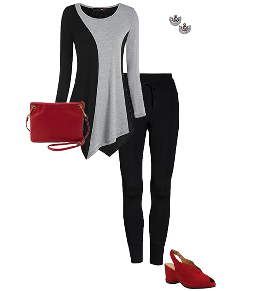 Outfit combining gray with black   40plusstyle.com