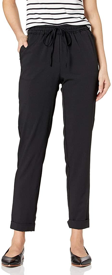 Daily Ritual Pantalones de sarga con puños elásticos y tejidos elásticos |  40plusstyle.com