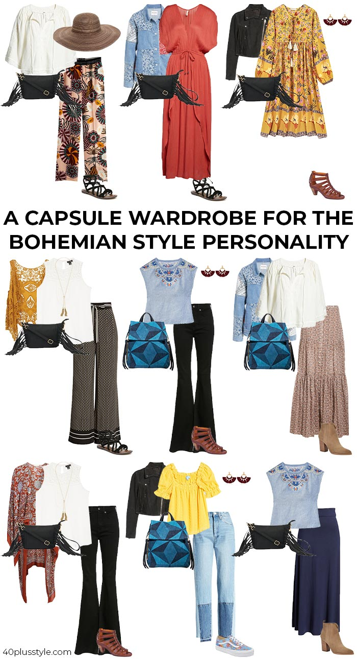 A capsule wardrobe for the BOHEMIAN style personality | 40plusstyle.com