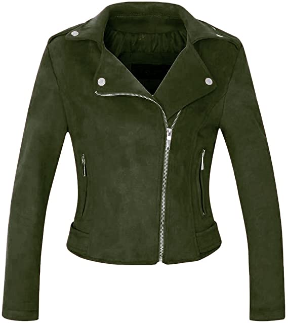 CHARTOU Notched Collar Oblique Suede Moto Jacket | 40plusstyle.com