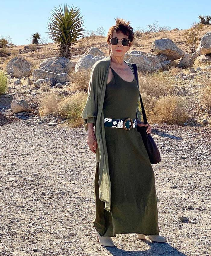 Dorrie in maxi tank top, cardigan, booties and boho accessories | 40plusstyle.com