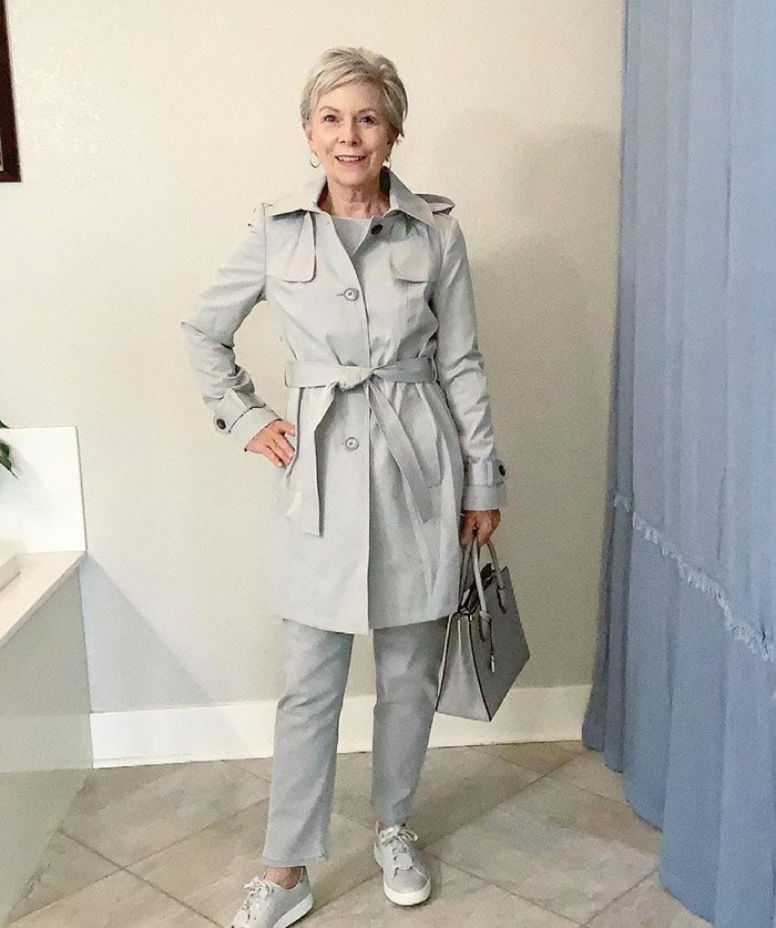 Eileen in a gray outfit   40plusstyle.com