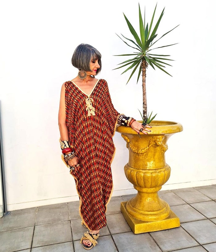 Elizabeth in maxi kaftan and statement bohemian accessories | 40plusstyle.com