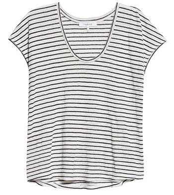 FRAME Easy Stripe Scoop Neck Linen Top   40plusstyle.com