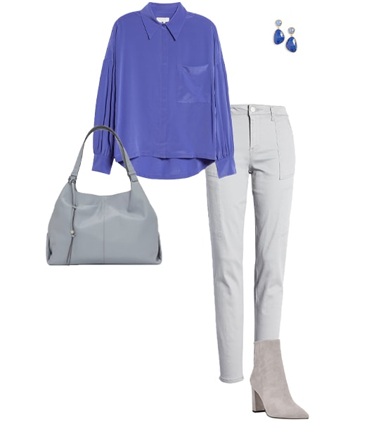 Outfit combining gray with blue   40plusstyle.com