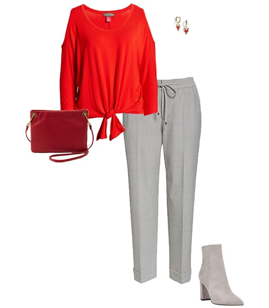 Outfit combining gray with red   40plusstyle.com