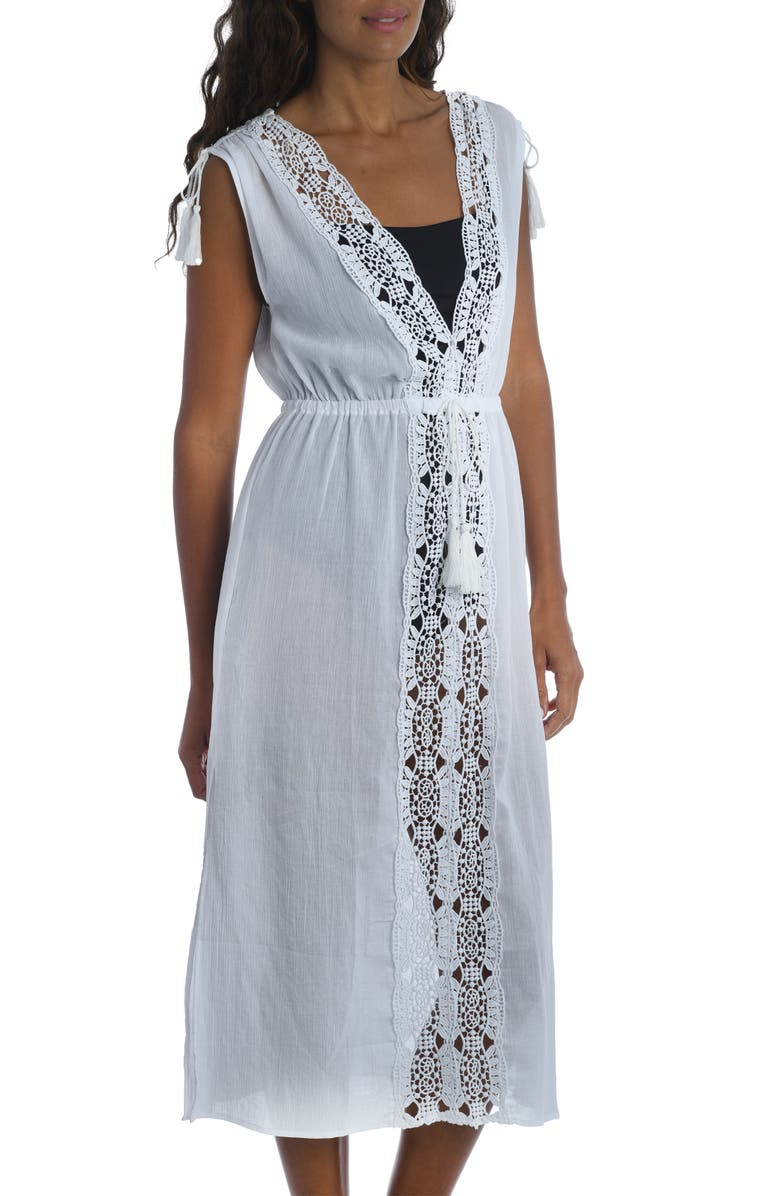 La Blanca lace trim midi dress | 40plusstyle.com