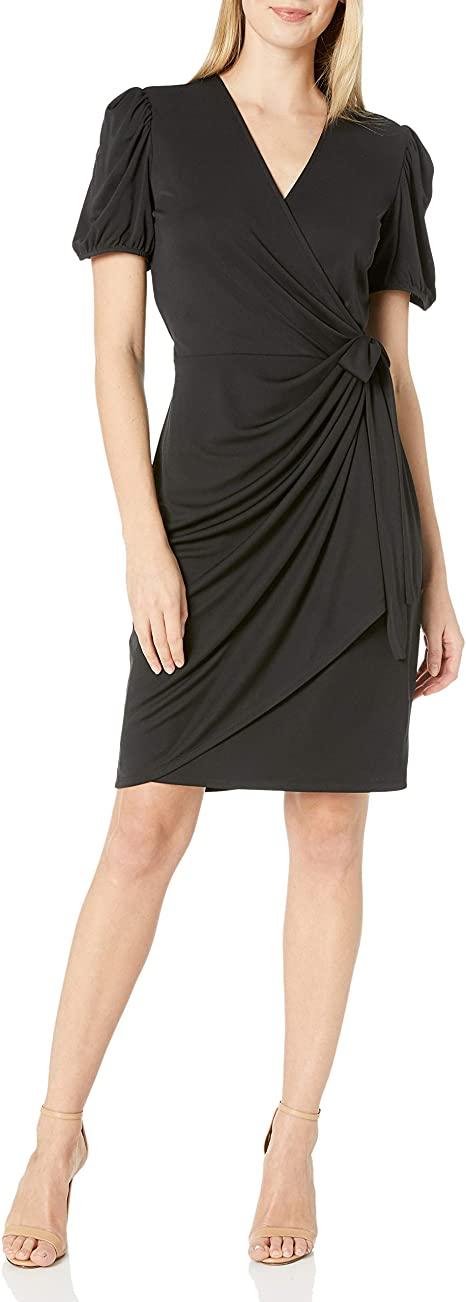 Amazon prime day - Vestido cruzado con mangas abullonadas y fruncido de Lark & Ro |  40plusstyle.com