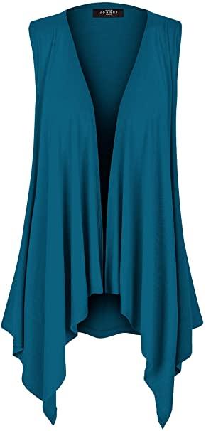 Cárdigan ligero con drapeado frontal abierto sin mangas MBJ |  40plusstyle.com