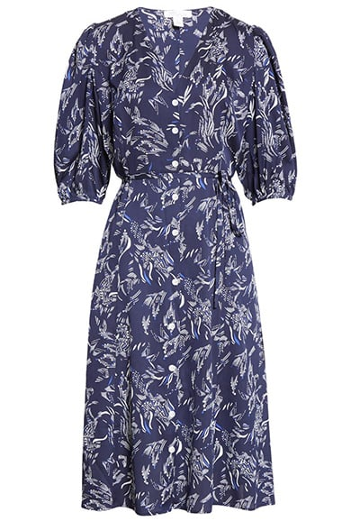 Nordstrom Button Front Stretch Silk Dress | 40plusstyle.com
