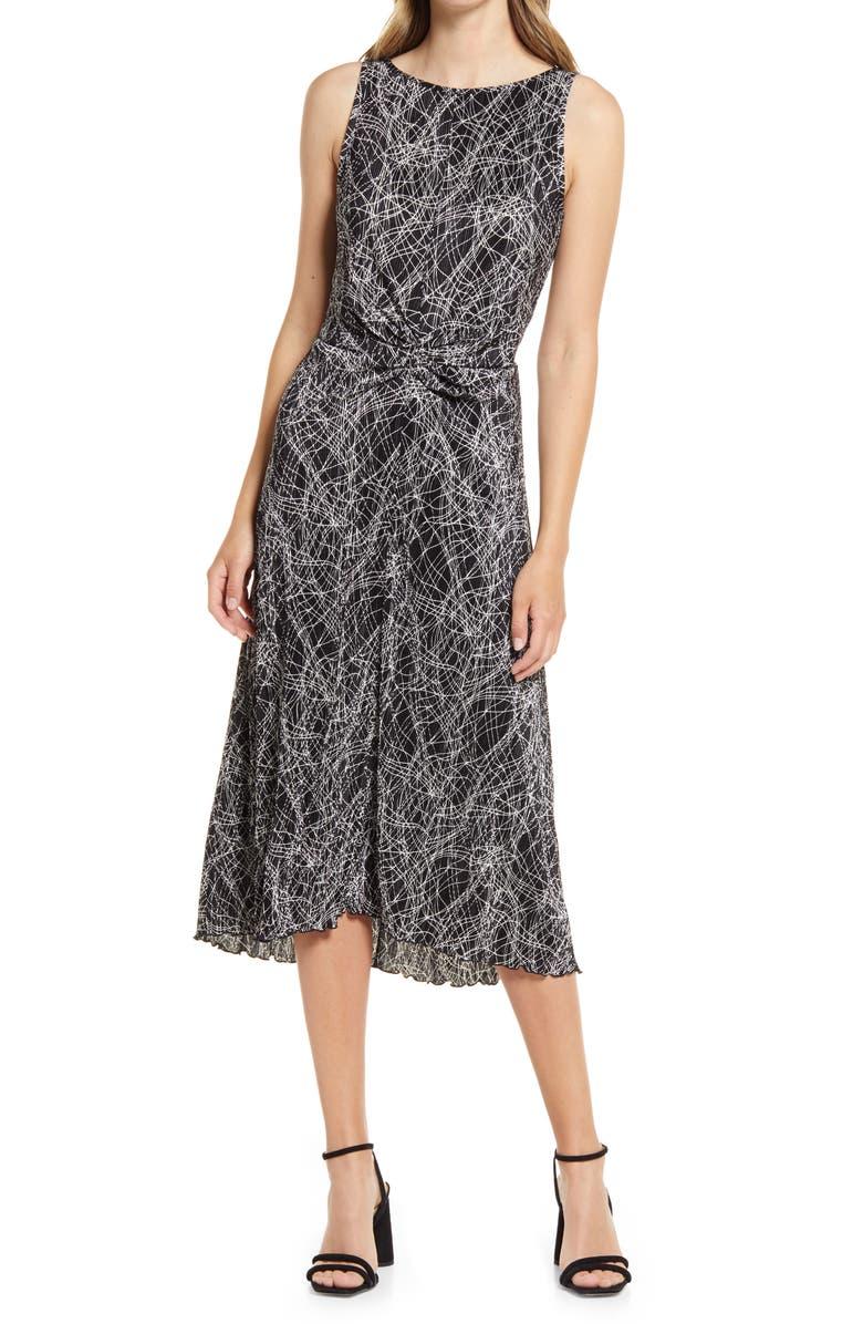 Halogen Sleeveless Plissé Midi Dress | 40plusstyle.com