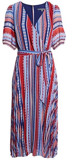 Julia Jordan Geometric Stripe Print Midi Dress   40plusstyle.com