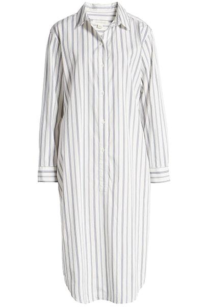 Treasure & Bond Stripe Long Sleeve Poplin Midi Shirtdress | 40plusstyle.com