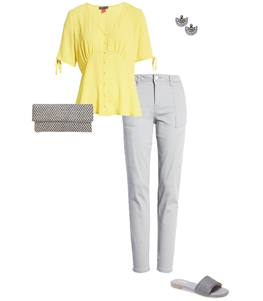 Yellow and gray outfit   40plusstyle.com