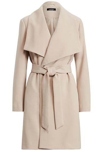 Nordstrom anniversary sale - Lauren Ralph Lauren Belted Drape Front Coat | 40plusstyle.com