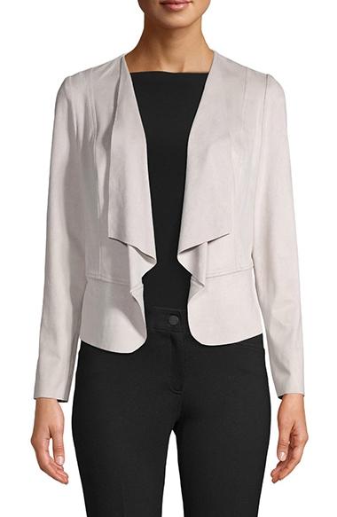 Anne Klein Drape Front Faux Suede Jacket | 40plusstyle.com