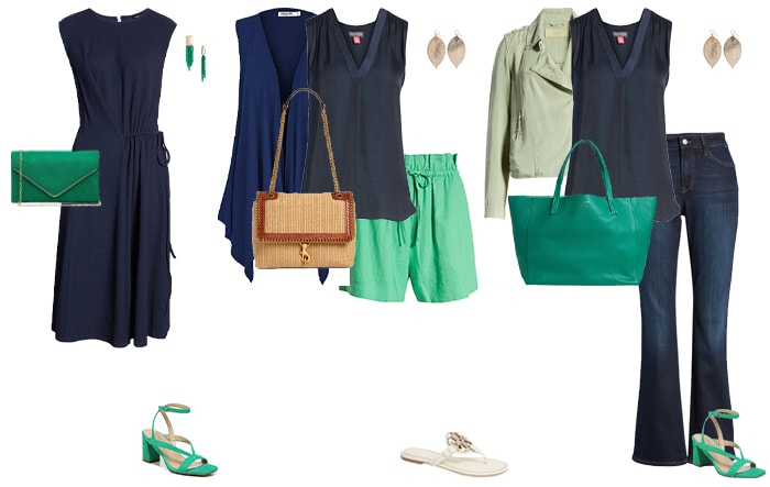 How to wear green - green and navy outfits   40plusstyle.com