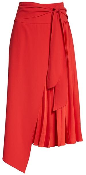 Alice + Olivia Zabana Asymmetrical Pleat Midi Skirt | 40plusstyle.com