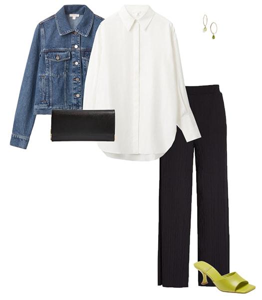 Oversized shirt worn with a shorter jacket | 40plusstyle.com