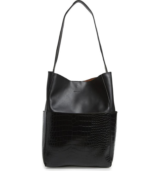 Street Level Croc Embossed Faux Leather Bucket Bag & Removable Pouch | 40plusstyle.com