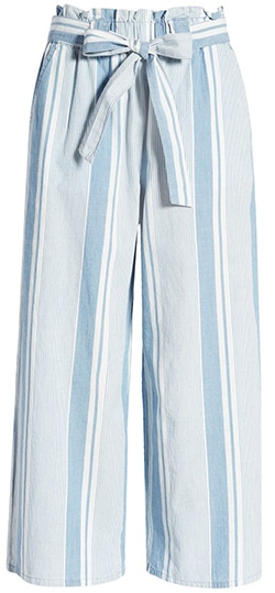 Nordstrom anniversary sale - Vero Moda Akela Paperbag Waist Stripe Chambray Pants | 40plusstyle.com