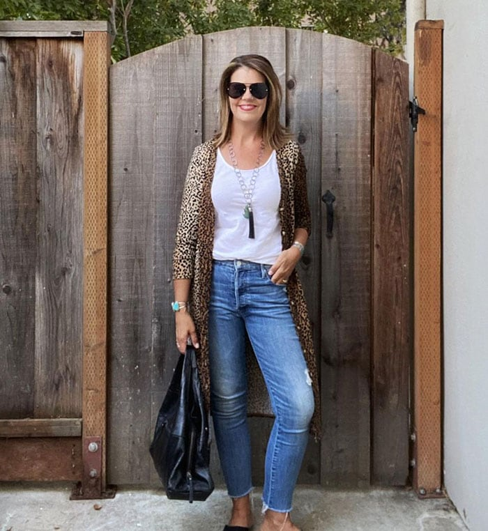 What to wear in Vegas - Suzanne in leopard print | 40plusstyle.com