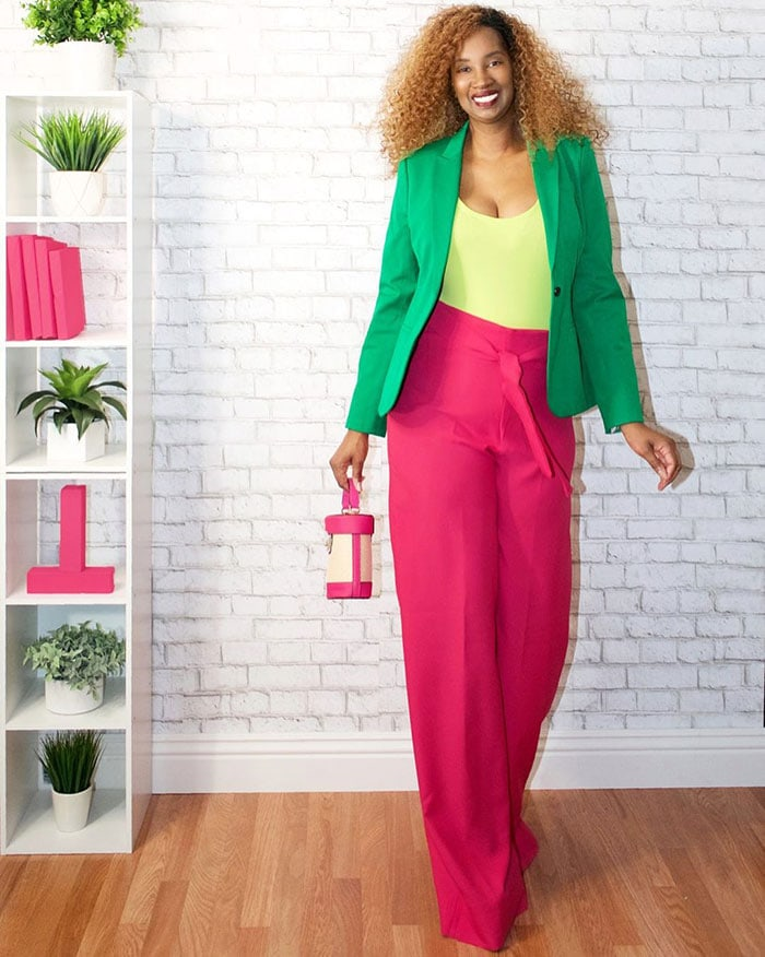 Green outfits - Tanasha wears green and pink | 40plusstyle.com