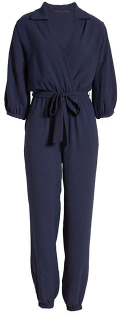 Fraiche by J tie waist jumpsuit | 40plusstyle.com