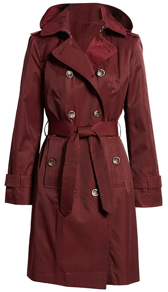 London Fog Double Breasted Trench Coat With Removable Hood | 40plusstyle.com