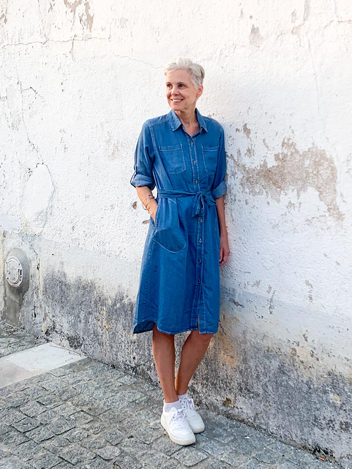 What to pack for Portugal: denim dress from Stella Carakasi   40plusstyle.com