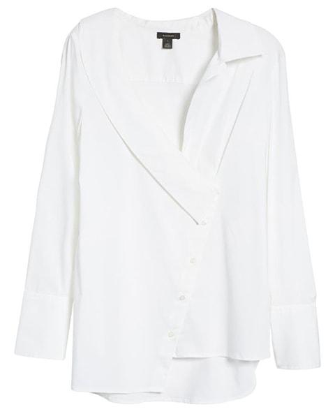 Halogen asymmetric button-up blouse | 40plusstyle.com