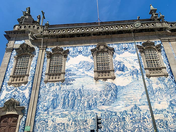 Church with blue white azulejos in Porto, Portugal   40plusstyle.com
