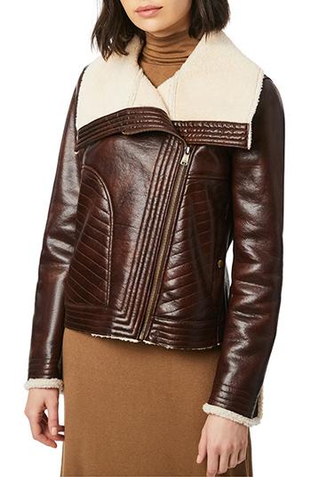 Bernado moto jacket with faux shearling lining | 40plusstyle.com