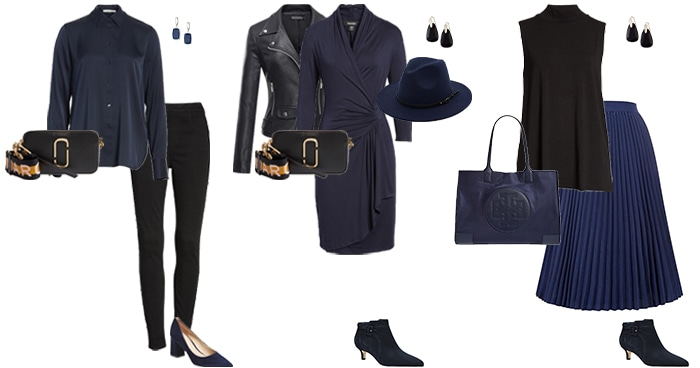 navy and black outfit ideas | 40plusstyle.com