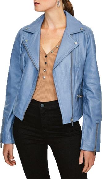 Karen Millen leather biker jacket | 40plusstyle.com