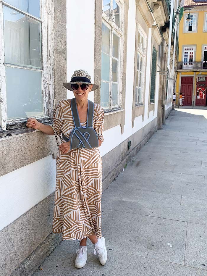 Brown striped dress (Nymph)   40plusstyle.com