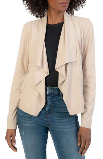 KUT from the Kloth drape front suede jacket | 40plusstyle.com