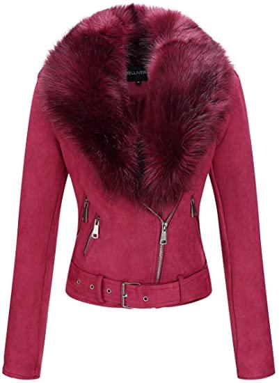 Bellivera faux suede jacket with detachable faux fur collar | 40plusstyle.com