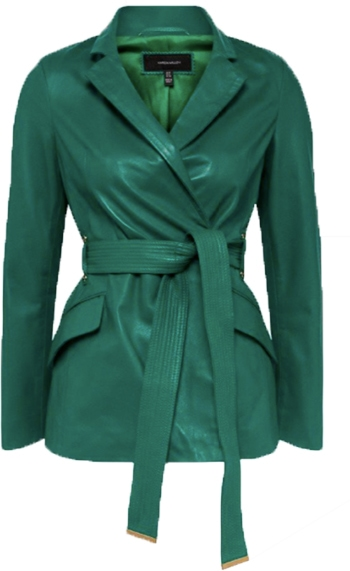 Karen Millen leather notch neck short coat | 40plusstyle.com