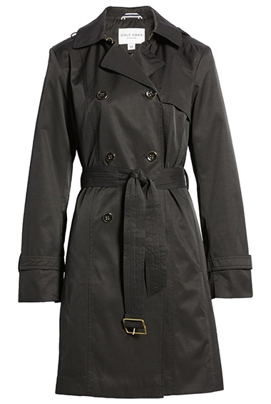 Cole Haan Signature hooded trench coat | 40plusstyle.com