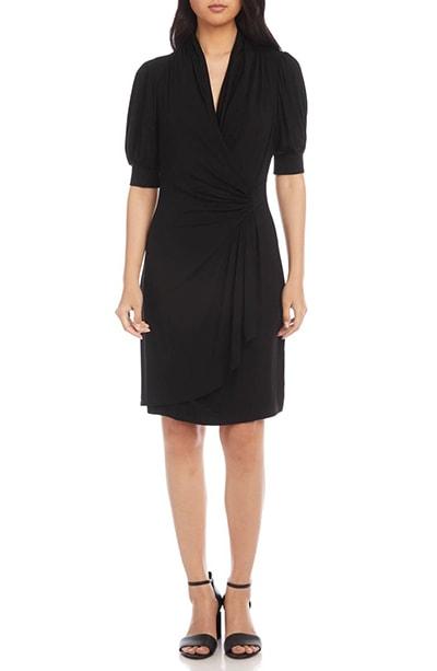 Karen Kane puff sleeve jersey faux wrap dress   40plusstyle.com