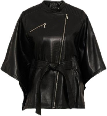 Karen Millen leather belted biker cape | 40plusstyle.com
