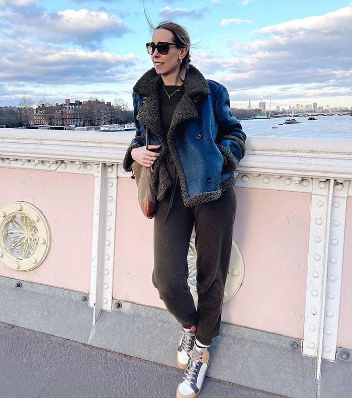 Marie-Louise wears a shearling coat | 40plusstyle.com