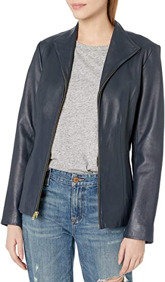Cole Haan leather wing collared jacket | 40plusstyle.com