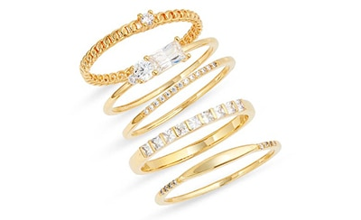 Nordstrom set of 5 assorted cubic zirconia rings | 40plusstyle.com