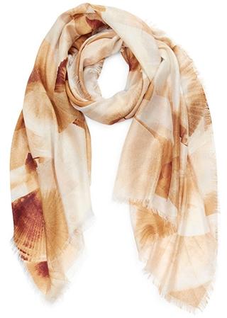 Nordstrom eyelash trim print wool & cashmere wrap scarf | 40plusstyle.com