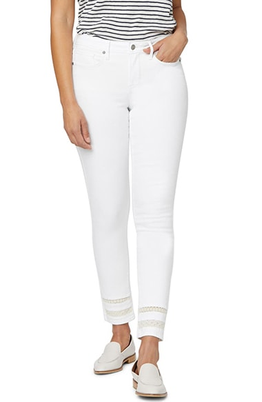 NYDJ high waist lace inset skinny jeans | 40plusstyle.com